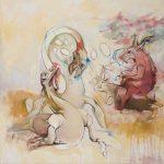 """Capricorn's Goat dt of triptych 44""""x44"""" o/c 2010"""